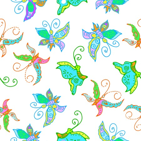 flit: illustration of seamless pattern of butterflies for design Stock Photo