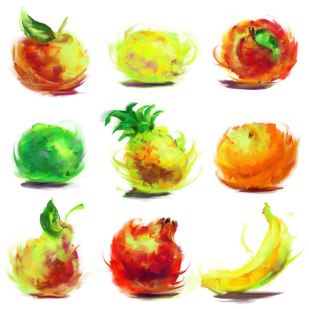 set of isolated fruit - drawn by oil paints Vector