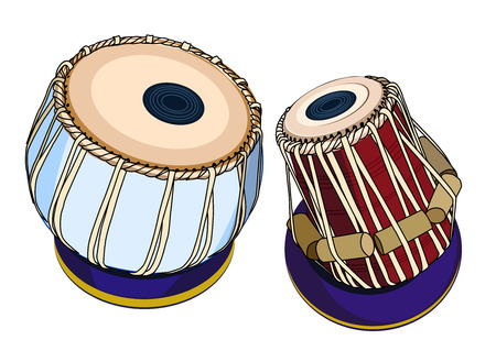 vector indian musical instruments - ethnic drum Tabla. Isolated object on a white background