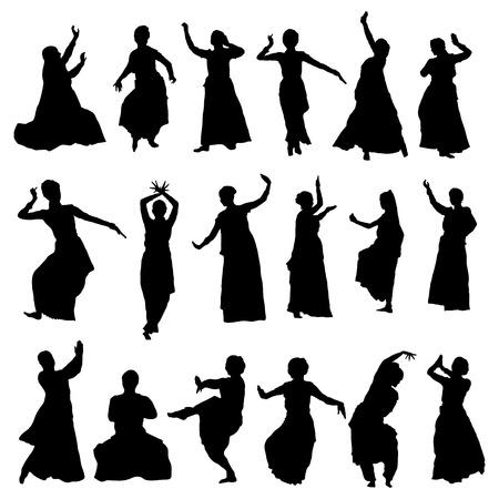 classic dance: vector conjunto de siluetas aisladas bailarines indios Vectores