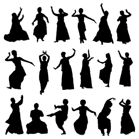 kuchipudi: vector set of isolated silhouettes indian dancers Illustration