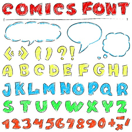vector illustration of  English alphabet in comics style Vector