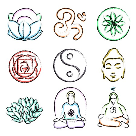tranquillity: vector set of yoga icons - Buddhism, meditation, signs and symbols. Doodle style