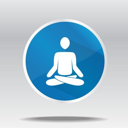 nirvana: vector illustration of flat icon of meditating man Illustration