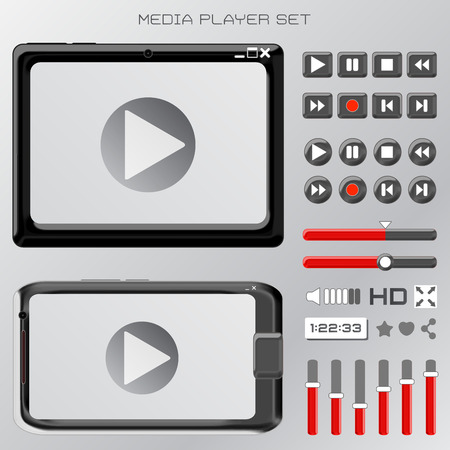 android tablet: vector set of video player interface - media, buttons and control Illustration