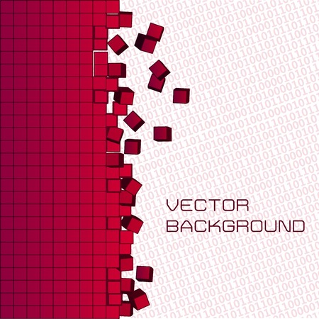 digital art: Vector background. Pixel art and digital binary code