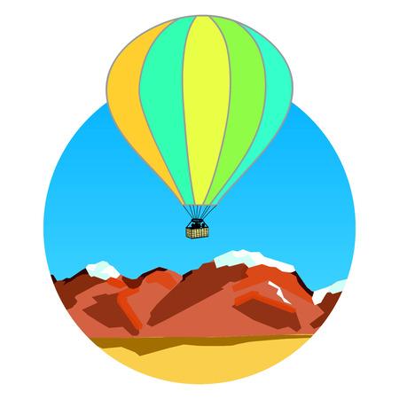 ridge: illustration of air balloon on mountain range Stock Photo