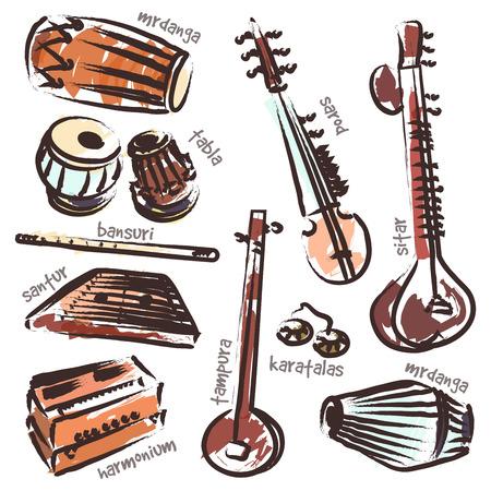 격리 된 전통적인 인도 악기 벡터 집합