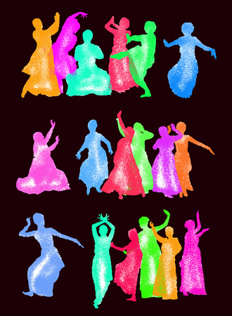 bollywood: vector set of isolated silhouettes indian dancers Illustration