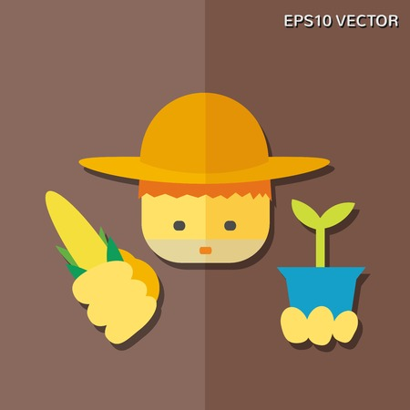 an agronomist: Vector flat icon - farmer.