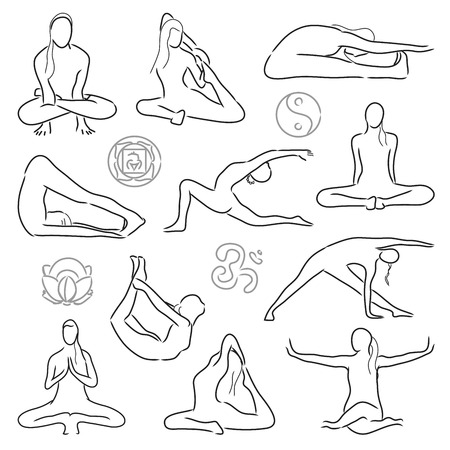 vector set of isolated yoga position - asanas and stretching