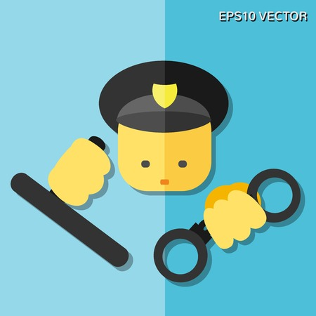 Vector flat icon - police. For websites, print and presentation templates, infographics, web and mobile services and apps. Vector