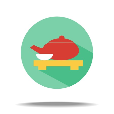 chinese tea pot: vector flat icon - kettle with green tea and cup Illustration