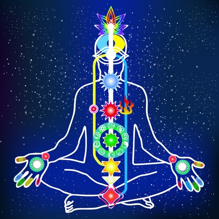 energy healing: Vector energy scheme of human body with chakras and channels