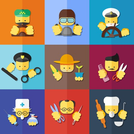 Vector flat icon set of profession. For websites, print and presentation templates, creating logos and infographics Vector