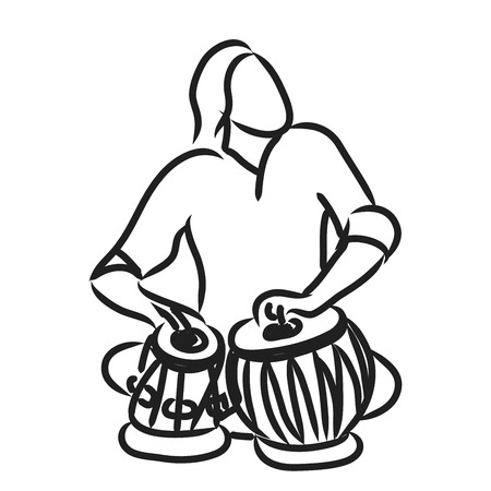 vector silhouette of indian musician playing tabla Vettoriali