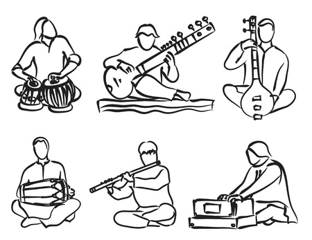 vector silhouette set of indian musician playing traditional musical instruments