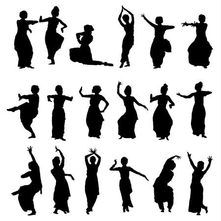 bollywood: vector conjunto de siluetas aisladas bailarines indios Vectores