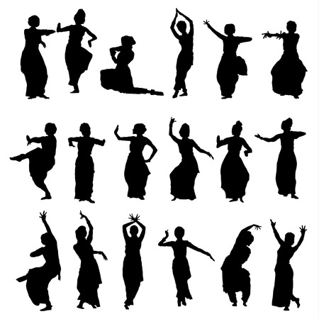 sari: vector set of isolated silhouettes indian dancers Illustration