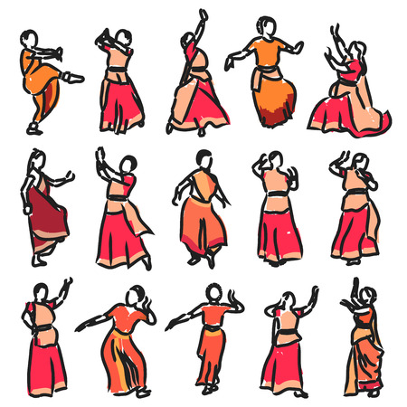 kathak: vector set of isolated contour silhouettes indian dancers