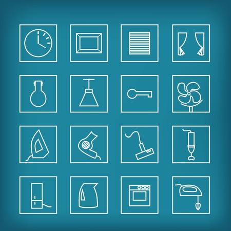 cocina limpieza: conjunto de iconos vectoriales de electrodom�sticos y accesorios para el hogar Vectores