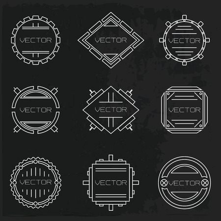 vector vignettes set in a techno style Vector