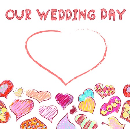inaccurate: vector doodle greeting card with hearts for wedding day