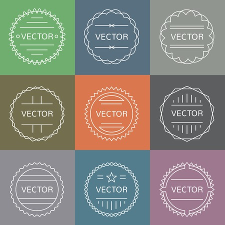 simple logo: vector set of emblems and badges in outline style