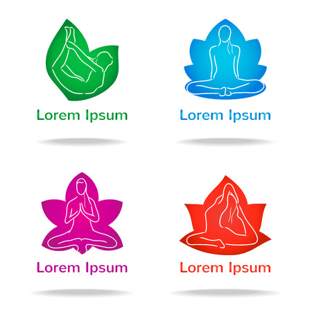 vector yoga icon set - position and meditation in flower form Vector