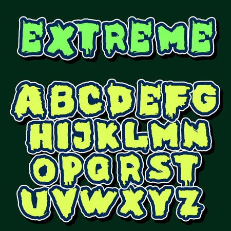 inaccurate: vector set of  English font in graffiti style