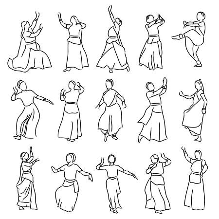 danza clasica: vector conjunto de siluetas de bailarines aislado contorno indios Vectores