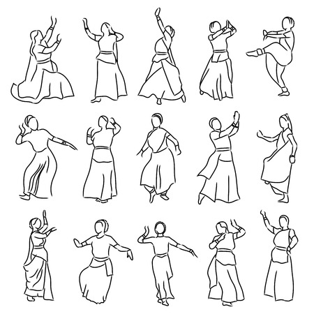 indian classical dance: vector set of isolated contour silhouettes indian dancers