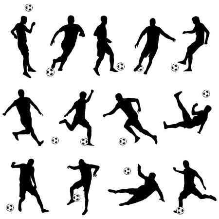 kick ball: vector set of silhouettes of football players Illustration