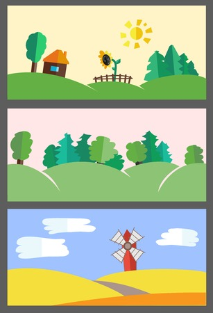 Vector flat set of illustrations - backgrounds nature. Hills, forest, field and house in village Vector