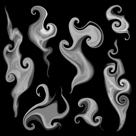 enfumaçado: vetor conjunto de isolado fumaça e padrões esfumaçados Ilustração