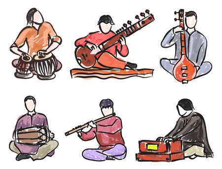 vector set of indian musician playing traditional musical instruments