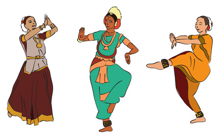 kuchipudi: vector set of isolated drawn indian dancers Illustration