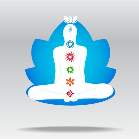 Vector silhouette of meditating person in lotus Illustration