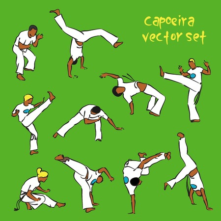 vector set of isolated brazilian capoeira fighting