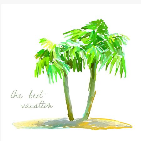 desert island: vector watercolor illustration of coconut palm trees on small desert island