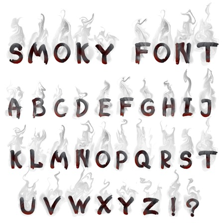 vector set of  English smoky font for design