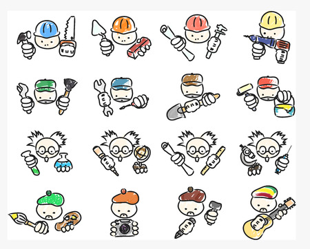 vector set of doodle professions icons - builders, repairers, scientists and creative people Vector