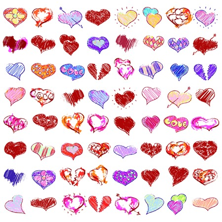 inaccurate: vector doodle hearts set  for happy valentines day or wedding