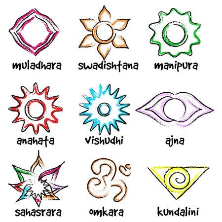 anahata: Insieme di vettore dei simboli di chakra. Centri di energia di yoga