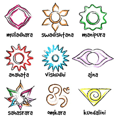 kundalini: Vector set of chakras symbols. Energy centers in yoga Illustration