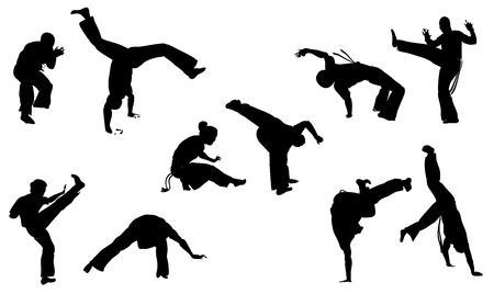 vector set of isolated silhouettes capoeira fighting