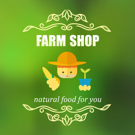 an agronomist: vector illustration of vintage farm shop badge