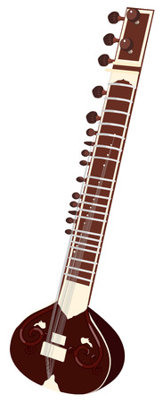 vector indian musical instruments - sitar. Isolated object on a white background Vettoriali