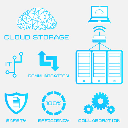 vector flat icons of cloud storage and computer server Vector