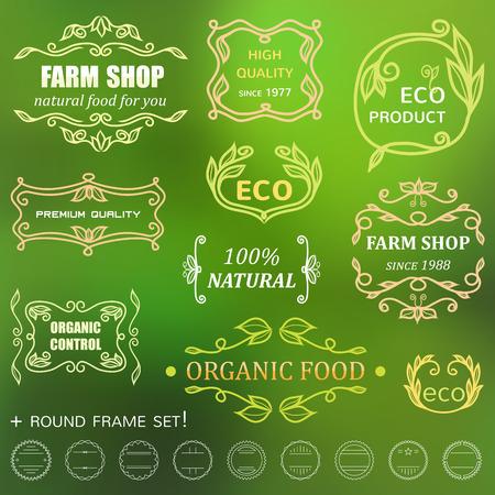 farm shop: set of vintage badges and monogram. Farm shop and natural food Illustration